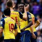Skuad Arsenal Merayakan Gol atas Aston Villa